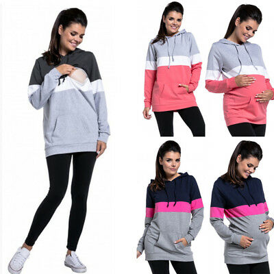 Women's Maternity Cozy Nursing Hoodie Long Sleeve Breastfeeding Sweatshirt Tops