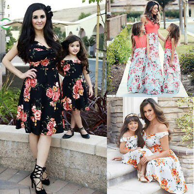 AU Mother and Daughter Matching Floral Dress Womens Maxi Dresses Clothes New