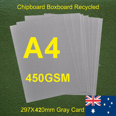 100 X A4 Second Grade 450gsm 0.72mm Chipboard Cardboard Recycled Gray Card