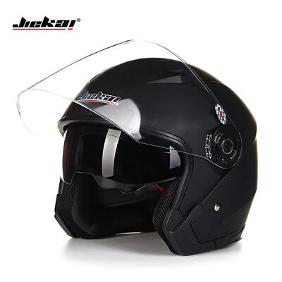 Motorcycle Open Face Helmet Dual Lens Visor Head Protector Safety Riding Gears