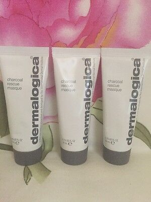 New Lot 3 Dermalogica - Charcoal Rescue Masque Travel Size,+ Cosmetic Bag Gift