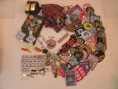 Lot of 110 Boy Scout Patches Belt Loops Pins Scarf