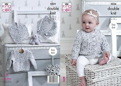 KINGCOLE 5234 BABY DK KNITTING PATTERN  14-22 IN -not the finished garments