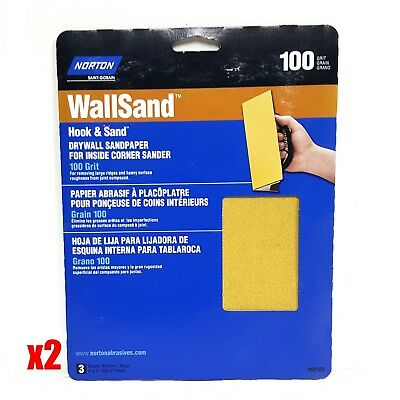 "Norton WallSand 8"" x 7"" Hook & Sand Corner Drywall Sandpaper 100 Grit 3 Pack"