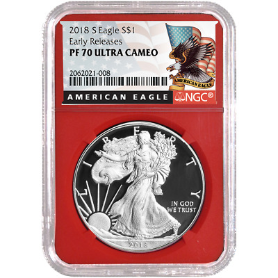 2018-S Proof $1 American Silver Eagle NGC PF70UC Black ER Label Red Core