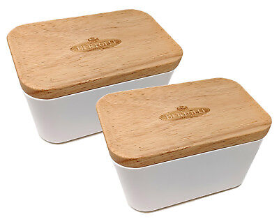2 x Bertolli Butter Dish Limited Edition Vintage with Wooden Lid Modern Home