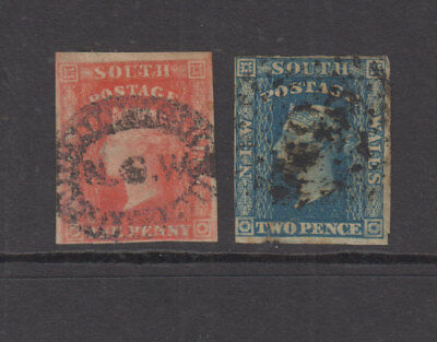NSW 1856 1d,2d imperf small DIADEMS - wmk numeral -SG108/112 Cat £38 G-FU (2)