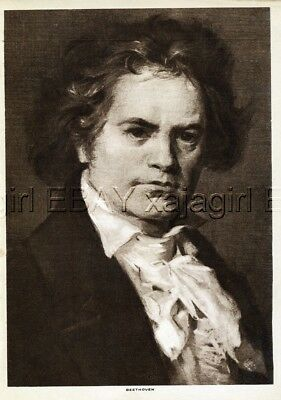 MUSIC Ludwig von Beethoven, Lovely 1913 Antique Print