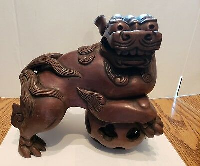 2 Matching Vintage Large Detailed Heavy Carved  Chinese Guardian Lion/Foo Dogs