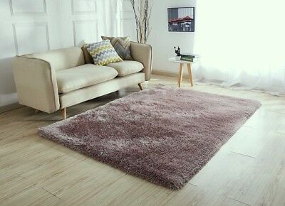 New Rose Gold Thick Silky Soft Shaggy Pile Rug Modern Luxurious Rugs Runners Mat