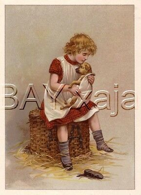 DOG Sick Puppy & Girl Veterinarian, Antique Color Print