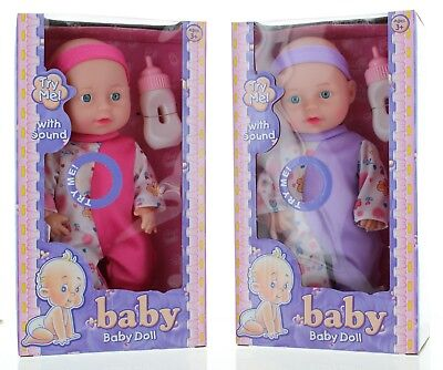 Baby Doll with 'Try Me' Sounds and Feeding Bottle Choice of 3 Designs Toy Play