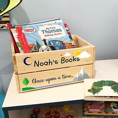 Personalised Wooden Story Book Box For Kids BOY GIRL Childrens Crate Gift