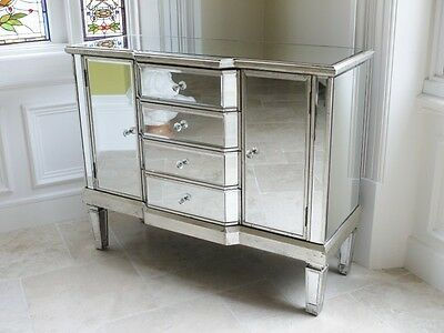 Antique Mirrored Sideboard With 4 Drawers And 2 Doors, Mirrored Cabinet