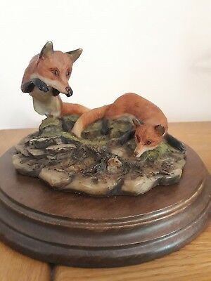 Country Artists 'The Fox hunt ' Handpainted, Wood Mount, Signed K Sherwin.