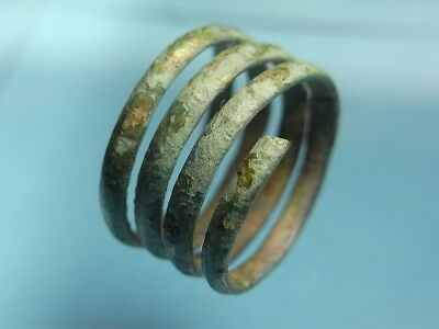 Nice Ancient Viking Irish 10th Century Bronze 5 Coiled 'Snake' Ring (A1034)