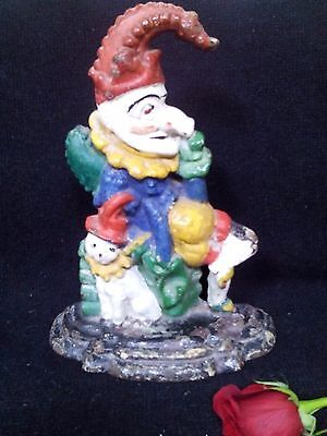ANTIQUE CAST MR PUNCH DOOR STOP heavy still has paint decoration