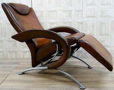Very Rare Fully Restored Strassle Hand Dyed Whisky Leather Recliner Armchair