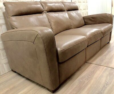 Natuzzi Three Seater Light Tan Leather Sofa Two Also Available
