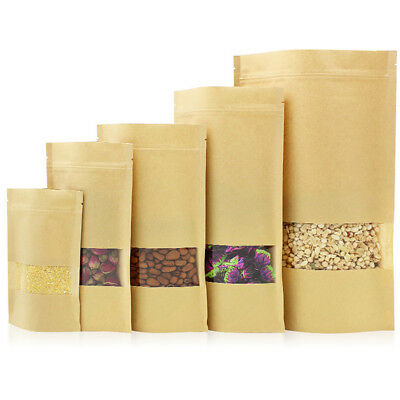 Stand Up Kraft Paper Zip lock Bags Resealable Food Packaging Pouch/&Clear Window