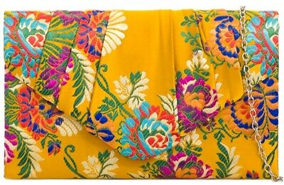 Clutch Bag Floral Satin Mustard Yellow Evening Bag Shoulder Bag Ladies Handbag