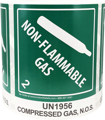 "Hazard Class 2 D.O.T. UN1956 Compressed Gas N.O.S. 4 x 4.75"" 500 Total Labels"