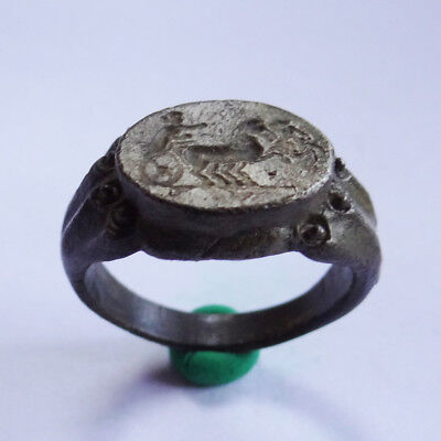 Roman Ancient Artifact Silver Legionary Ring With Biga