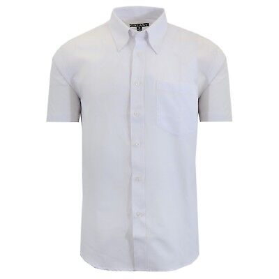 Mens Short Sleeve Dress Shirt Oxford White Button Down Casual Formal Work NEW
