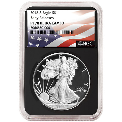 2018-S Proof $1 American Silver Eagle NGC PF70UC Flag ER Label Retro Core