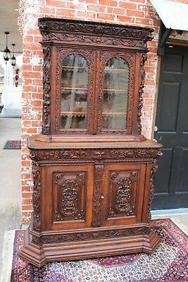 Antique Tall Black Forest Oak Dining Room Buffet Furniture Bookcase Cabinet