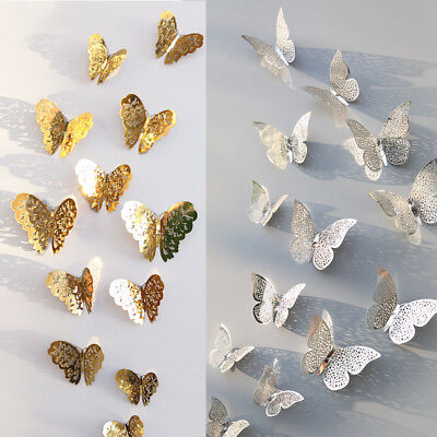 12 pcs 3D Butterfly Wall Stickers Art Decal Home Room Decorations Decor Kids DIY