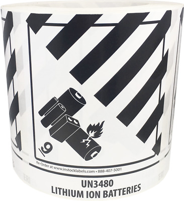 Hazard Class 9 UN3480 Battery Stickers, 4 x 4.75 Inches Wide, 500 Total Labels