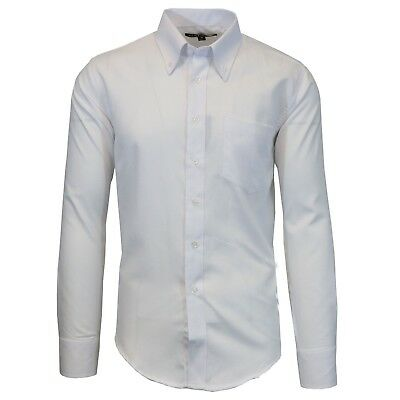 Mens Long Sleeve Dress Shirt Oxford White Button Down Casual Formal Work NEW