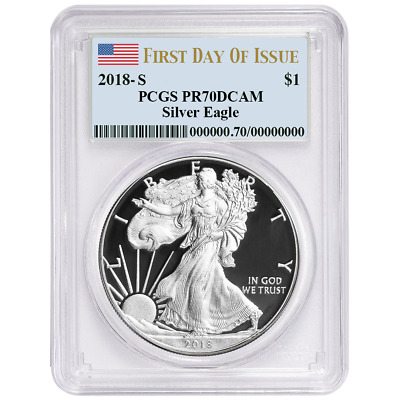2018-S Proof $1 American Silver Eagle PCGS PR70DCAM FDOI Label