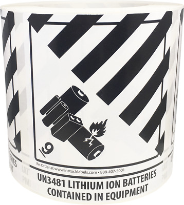 Hazard Class 9 D.O.T. UN3481 Lithium Ion Batteries Contained in Equip. 4 x 4.75""