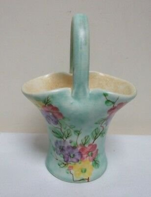 "H J WOOD E RADFORD FLORAL BASKET VASE HAND PAINTED 1920's DECO 5.5"" SIGNED"