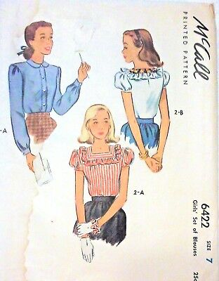 McCall Pattern #6422 for Girl's Set of Blouses Size 7 ©1946 Complete