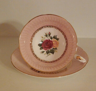Vintage Royal Grafton Tea Cup, Pink with Yellow & Red Rose