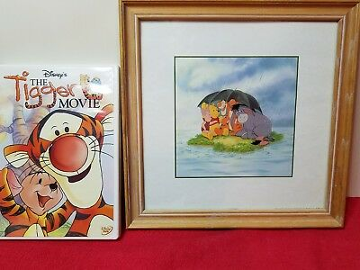 Disney Classic Pooh Oak Framed Wall Art  Mint Condition + Bonus DVD Movie
