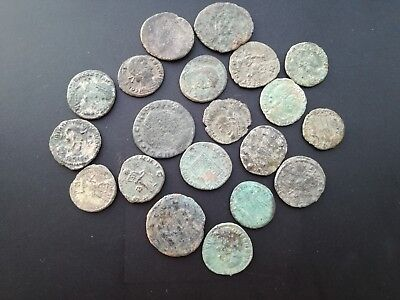 Lot of 20 Ancient Roman Bronze Coins 300-400 AD