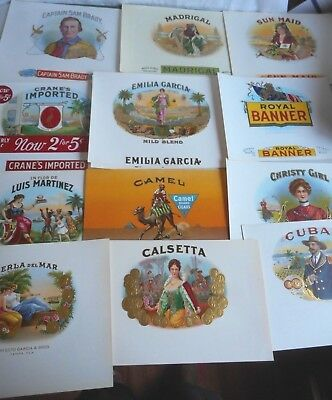 Vintage Lot 13 Cigar Box Labels Inners Madrigal Sun Maid Crane's Jackman Mfg.