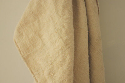 Antique heavy hemp sheet 1800's 59 by 79 inches natural linen textural rustic