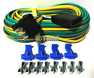 COMPLETE 25FT FLAT 4-Way Trailer Wiring Harness Boat Camper Utility on
