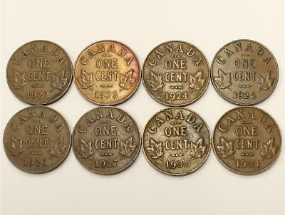 Canada key date cents 8-coins 1922 1923 1924 1925 26 27 30 & 1931 Fine+