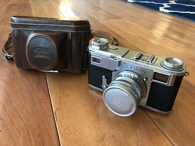 Zeiss Ikon Contax II Camera + Jena Sonnar 50mm F1.5 Red T Lens & Leather Case