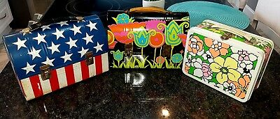 Vintage Lot lunchbox Mod Tulip Ohio Art dome, Floral, Stars & Stripes VERY COOL!