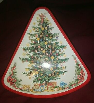 Vintage 70's Christmas Tree Cookie Candy Nut Collectible Tin Can