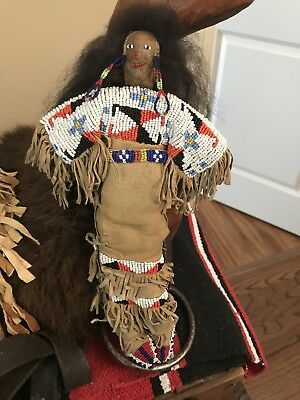 Antique Beaded Leather Native American Plains Indian Doll