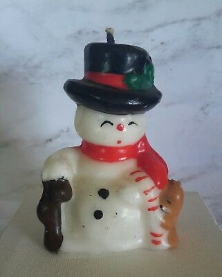 "Vintage  Wax Frosty Snowman Figure Candle Top Hat CandyCane  Teddy  3.5"" Tall"