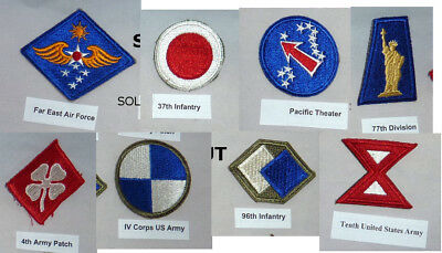WWII Patches Lot of 8 Cut Edge No Glow Minty